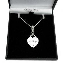 Engraved Sterling  Silver Heart Pendant, Pandora Style